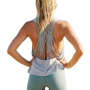 Free People Grey Wilder Open Back Strappy Tank Top